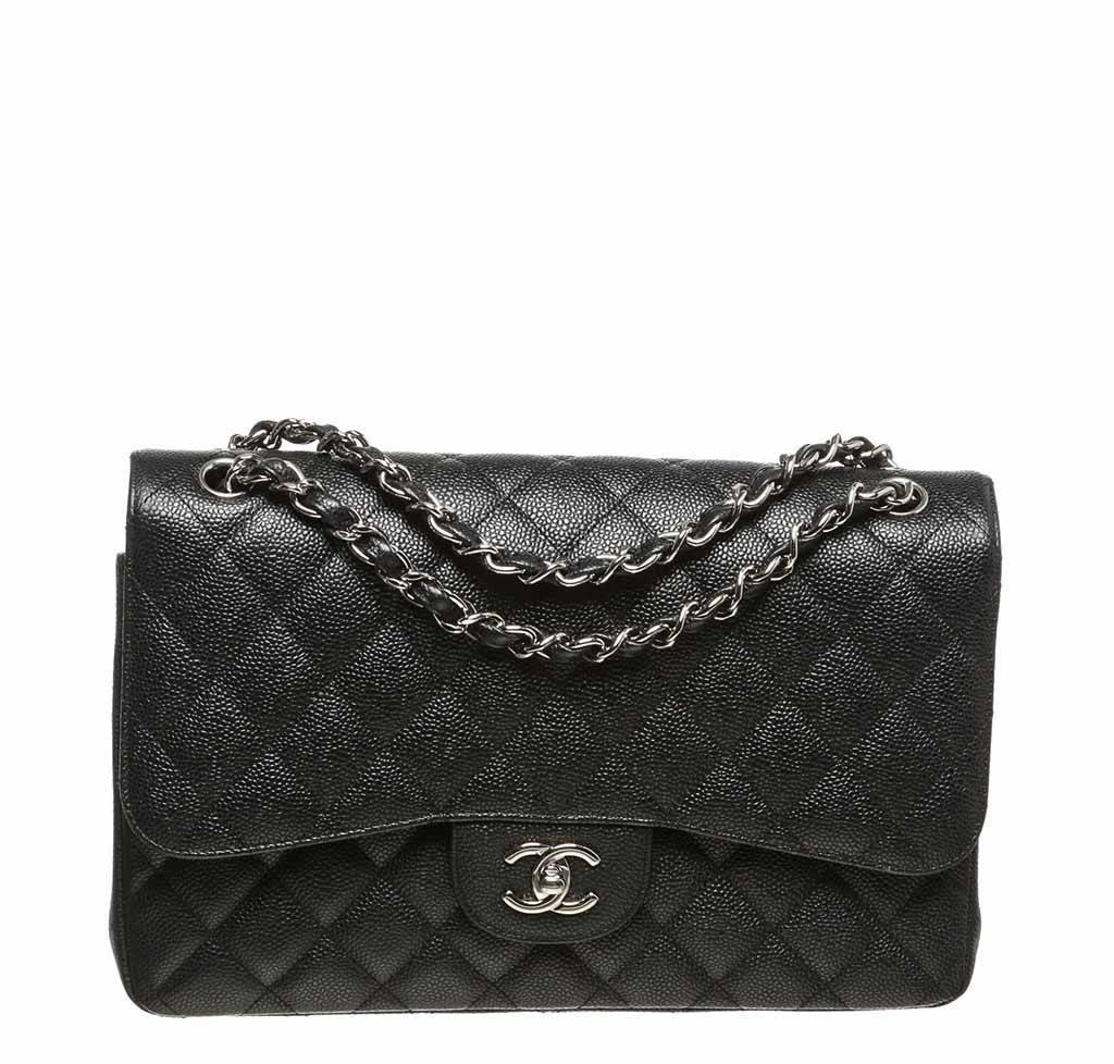 f1ac53d63275 Chanel Black Jumbo 2.55 Bag Caviar chanel double flap classic 2.55 bag  black used ...