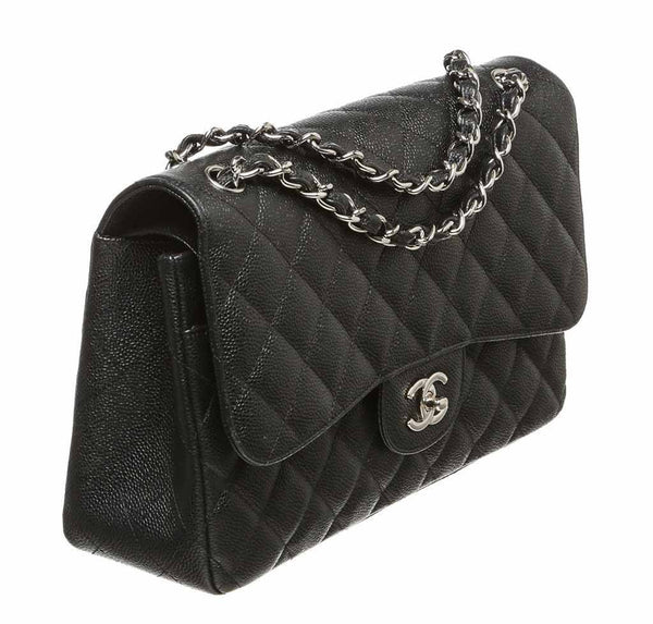 chanel double flap classic 2.55 bag black used side