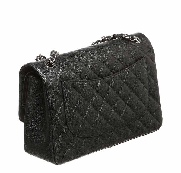 chanel double flap classic 2.55 bag black used back