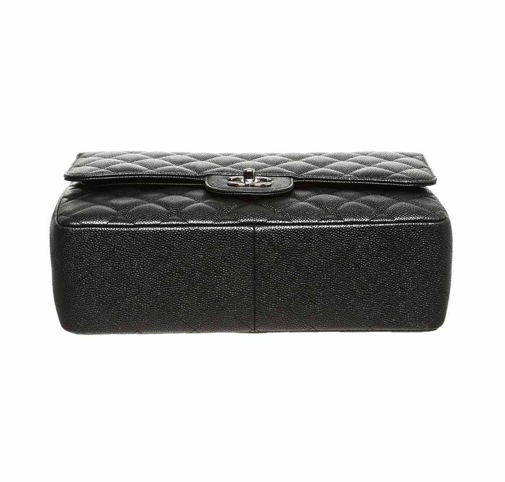 9320c1dbfa43 ... chanel double flap classic 2.55 bag black used bottom ...
