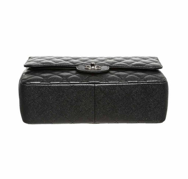 chanel double flap classic 2.55 bag black used bottom