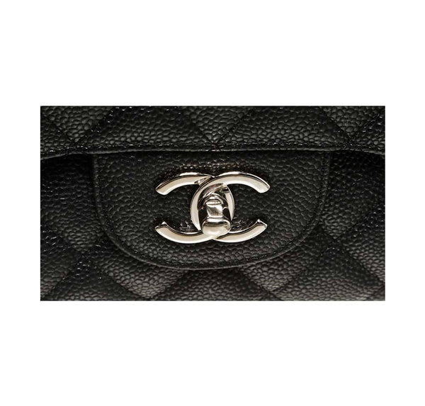chanel double flap classic 2.55 bag black used logo