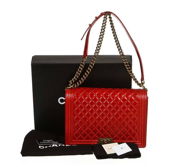 chanel quilted boy bag red used complete