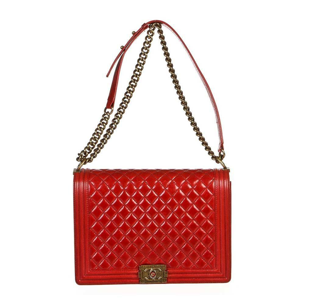 763914e7310b Chanel Boy Bag Red Quilted Distressed Lambskin Leather