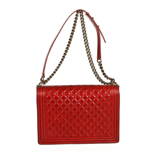 chanel quilted boy bag red used back