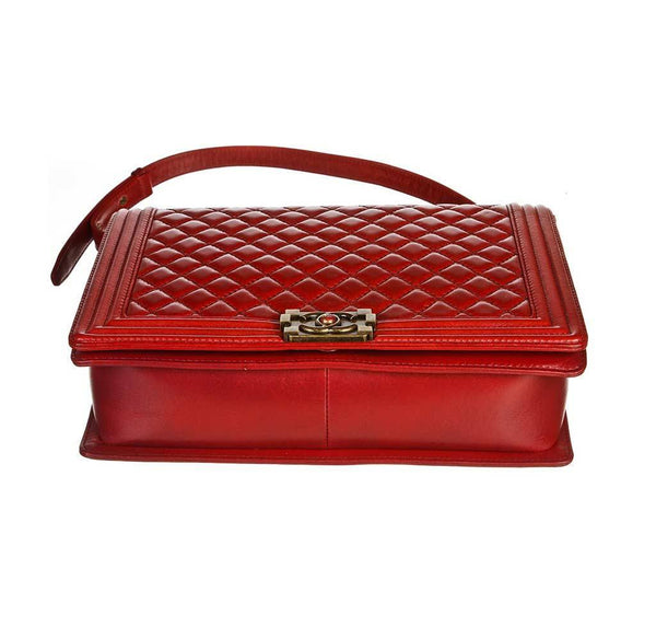 chanel quilted boy bag red used bottom