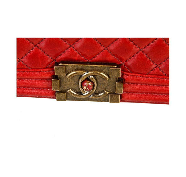 chanel quilted boy bag red used logo