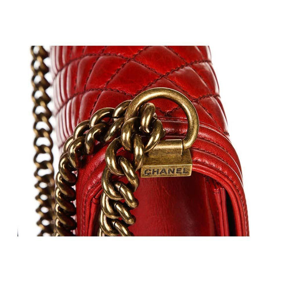 chanel quilted boy bag red used chain