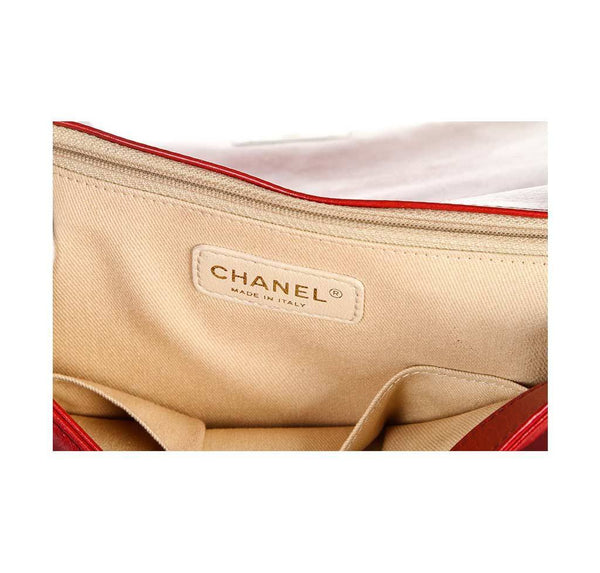 chanel quilted boy bag red used detail