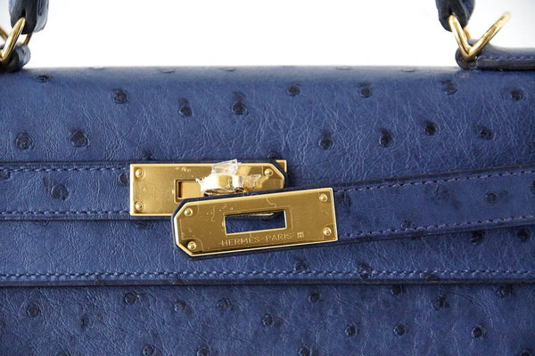Hermes Kelly Sellier 28 Blue Iris Ostrich gold pristine clasp