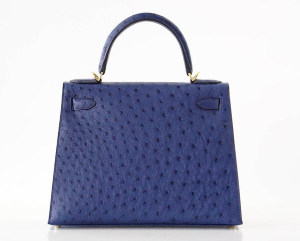 Hermes Kelly Sellier 28 Blue Iris Ostrich gold pristine back