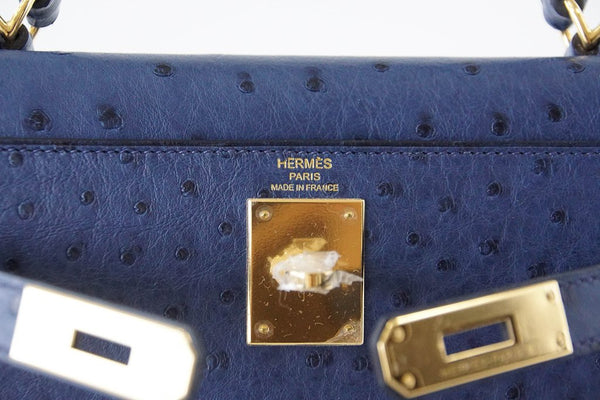 Hermes Kelly Sellier 28 Blue Iris Ostrich gold pristine embossing