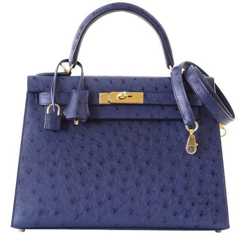 Hermes Kelly Sellier 28 Blue Iris Ostrich gold pristine front