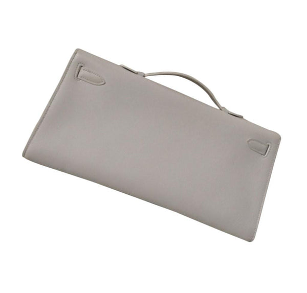 Hermes Kelly Cut Longue Pochette Clutch White New back