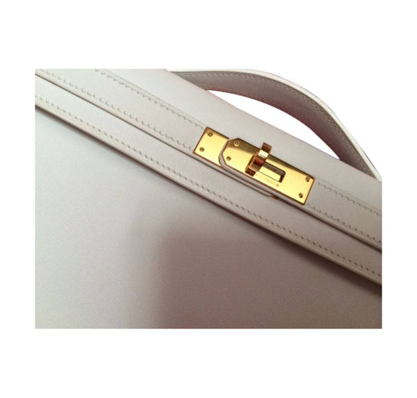 Hermes Kelly Cut Longue Pochette Clutch White New hardware