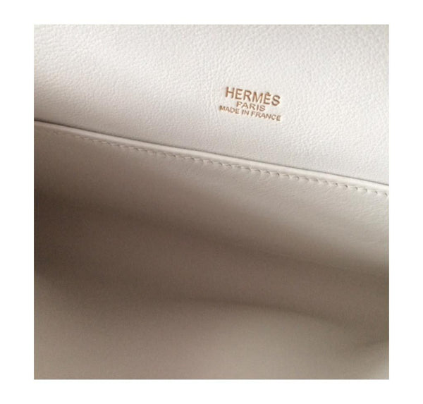 Hermes Kelly Cut Longue Pochette Clutch White New embossing