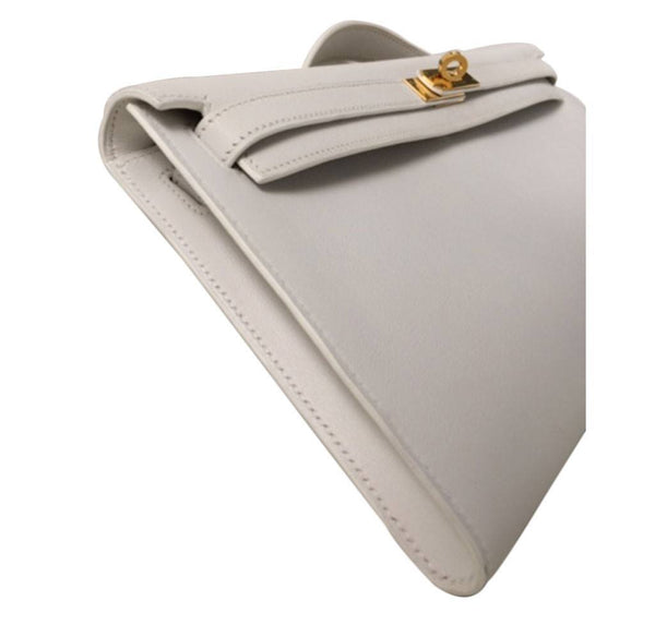 Hermes Kelly Cut Longue Pochette Clutch White New side