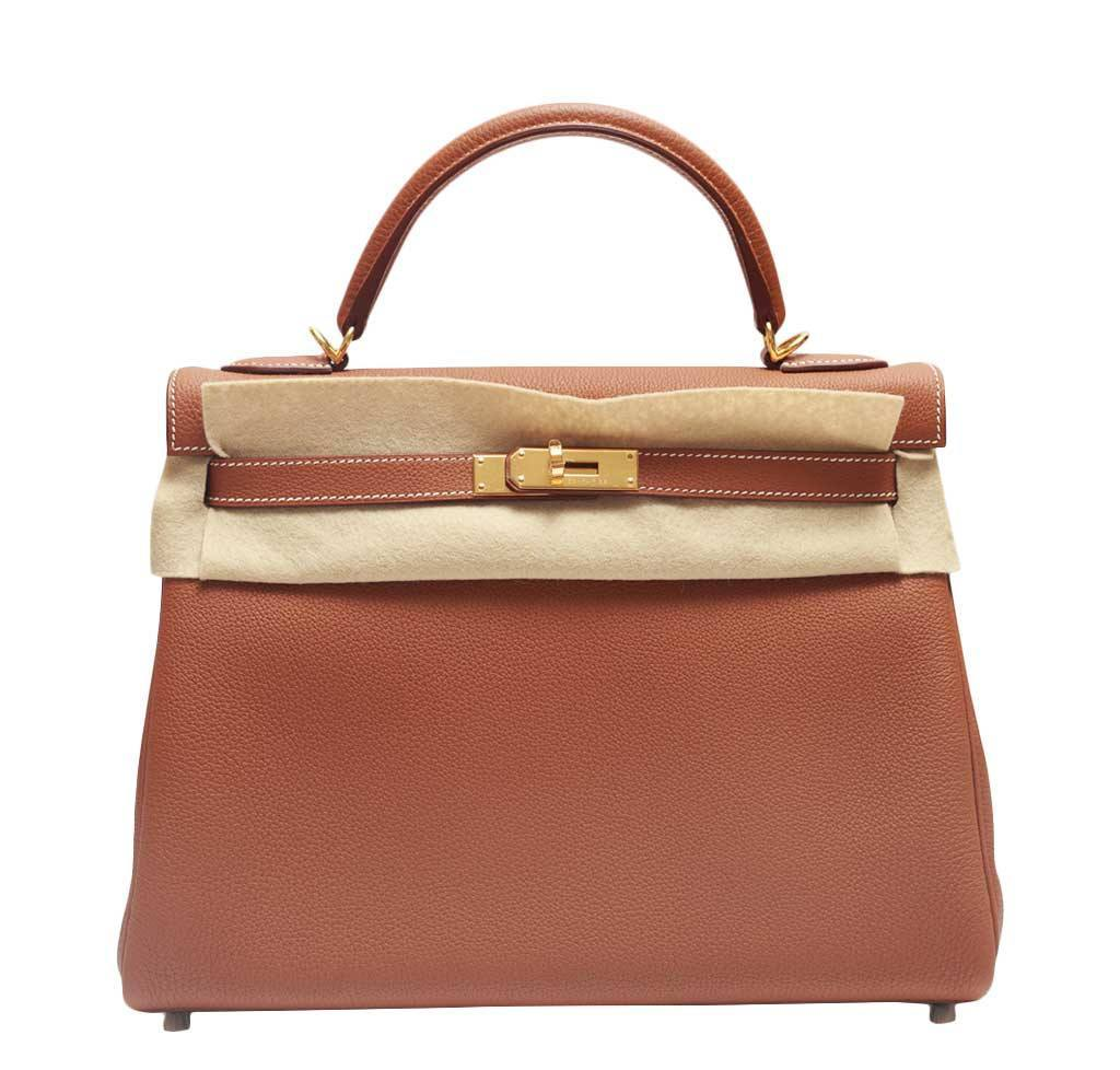 a098fcba9470 Hermes Kelly Retourne Bag Clemence Leather hermes kelly retourne 32 gold ...