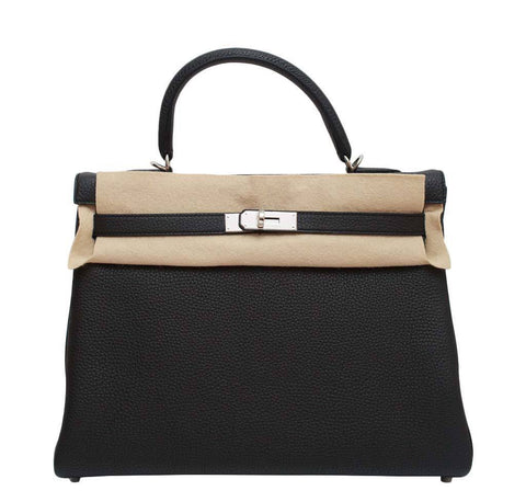 Hermes Kelly Retourne Black Plomb Bag