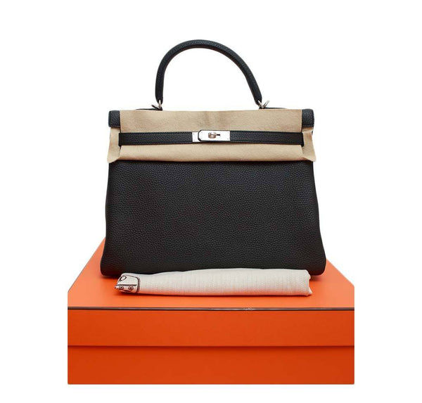 hermes kelly retourne 35 black plomb new box