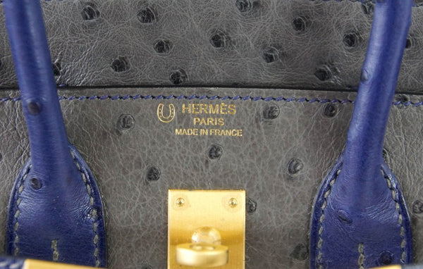 Hermes Birkin 25 HSS gris agate blue sapphire Ostrich brushed gold pristine embossing