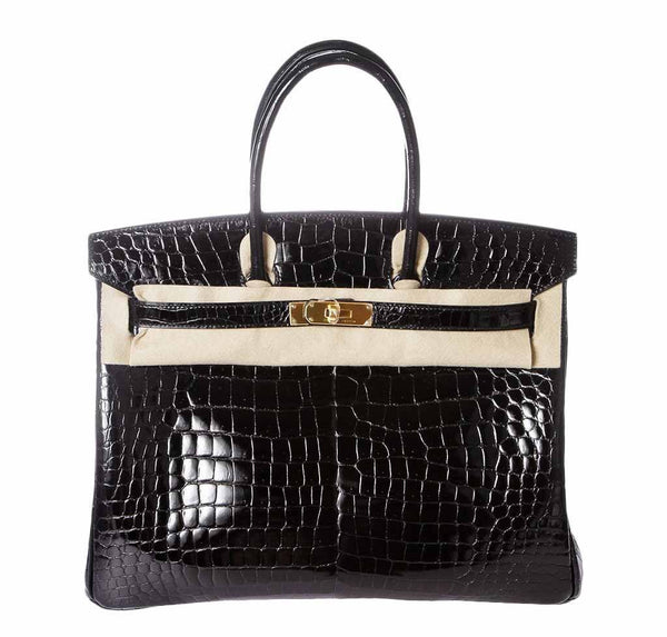 Hermes Birkin Porosus Crocodile Black Bag