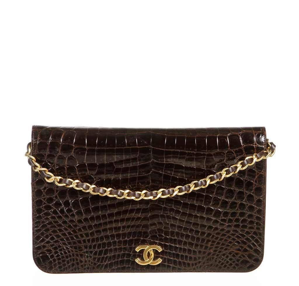 hot-selling latest matching in colour meet Chanel Brown Crocodile Vintage Flap Shoulder Bag