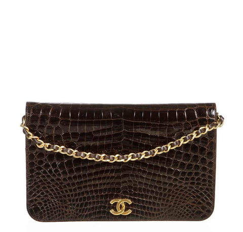 Chanel Brown Crocodile Shoulder Bag