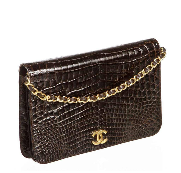 chanel vintage flap shoulder bag brown used front