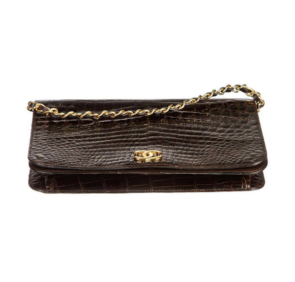 chanel vintage flap shoulder bag brown used bottom