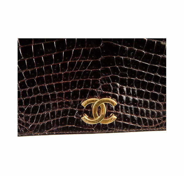 chanel vintage flap shoulder bag brown used logo
