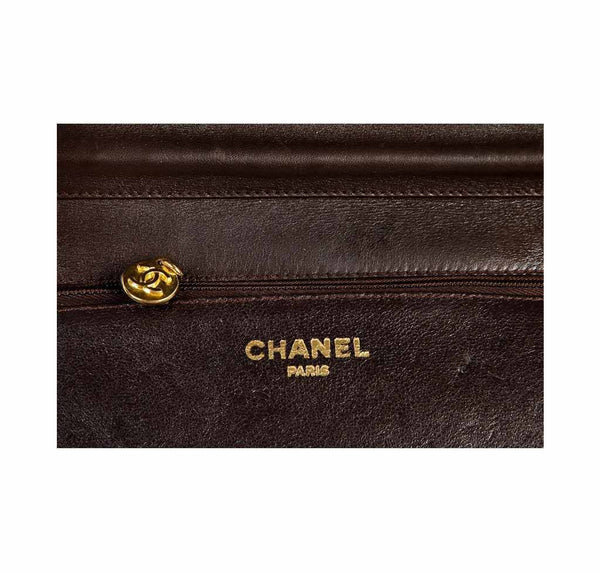 chanel vintage flap shoulder bag brown used embossing