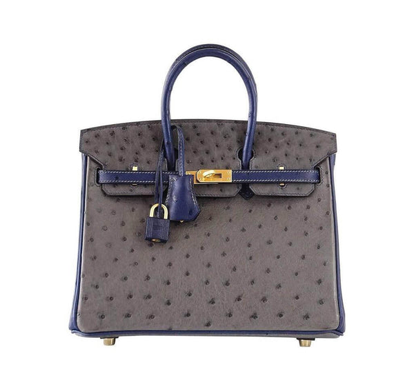 Hermes Birkin 25 HSS gris agate blue sapphire Ostrich brushed gold pristine front