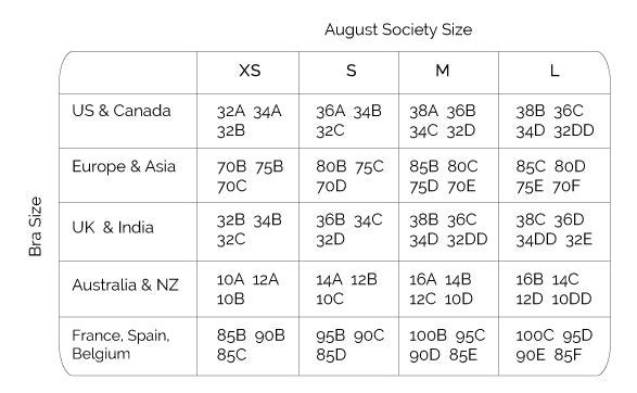 41a393fe55 Swiwear Size Guide - August Society