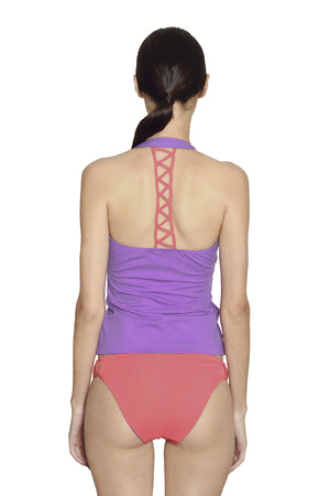 Cancun Racerback Tankini - Lilac / Coral - August Society  - 3