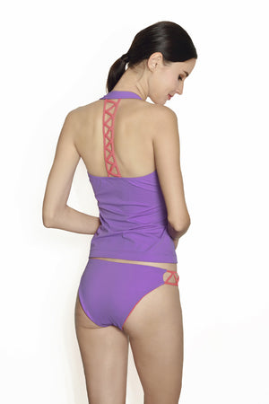 Cancun Racerback Tankini - Lilac / Coral - August Society  - 4