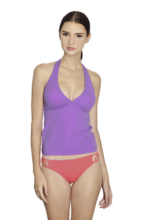 Cancun Racerback Tankini - Lilac / Coral - August Society  - 1