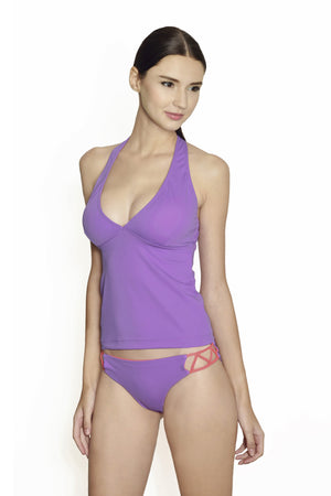 Cancun Racerback Tankini - Lilac / Coral - August Society  - 2