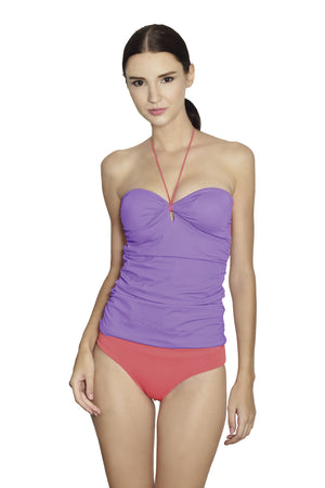 Isla Negra Bandeau Tankini - Lilac / Coral - August Society  - 1