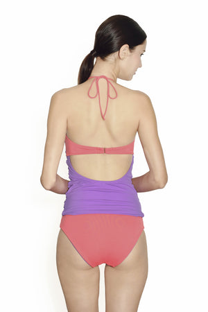Isla Negra Bandeau Tankini - Lilac / Coral - August Society  - 2