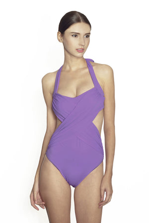 Maldives Wrap One Piece - Lilac - August Society  - 1