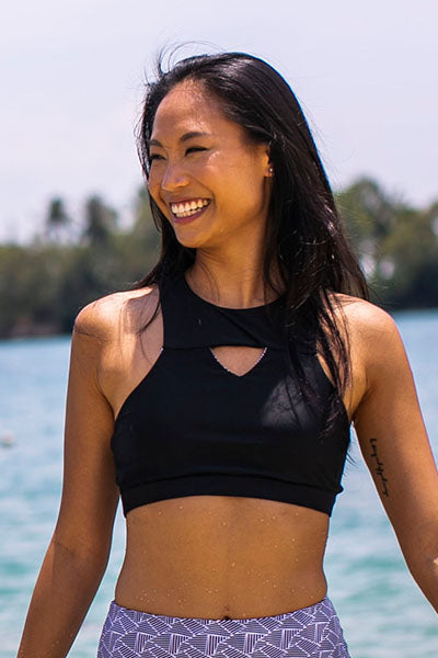 Langkawi High Neck Top - Reversible Black/Tile