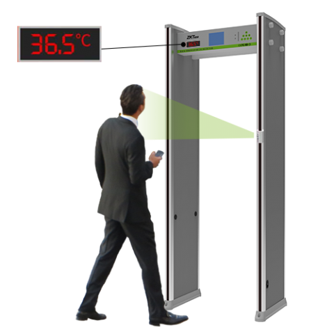 ZKTeco 18 Zone Walk Through Metal Detector with Temperature Detection
