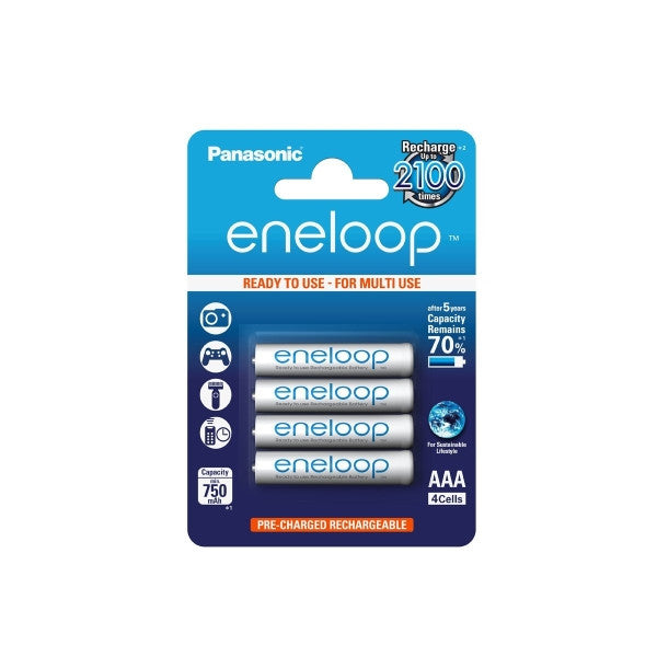 Panasonic eneloop AAA 750mAh Rechargable Batteries (Pack of 4)