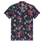 The Good People -  Johnny Print Shirt - Navy Beige