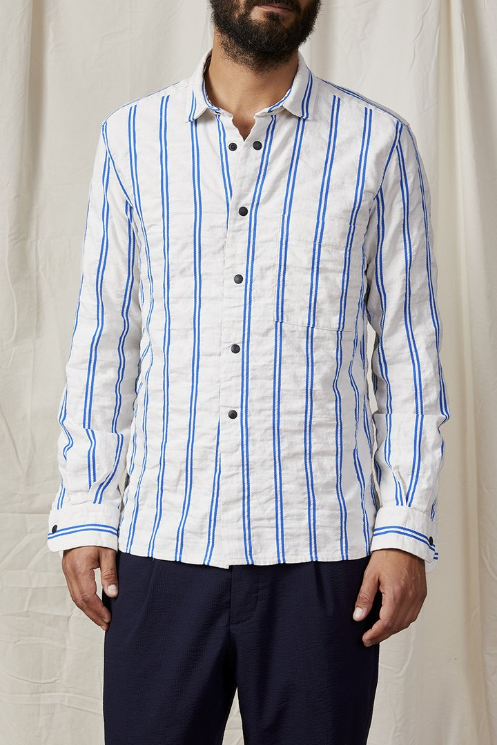 A.B.C.L. GARMENTS - Cali Overshirt Cotton Linen Dobby Stripe 0107