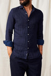 A.B.C.L. GARMENTS - Liberty linen cotton bonded stripe 0126/ Dark Blue