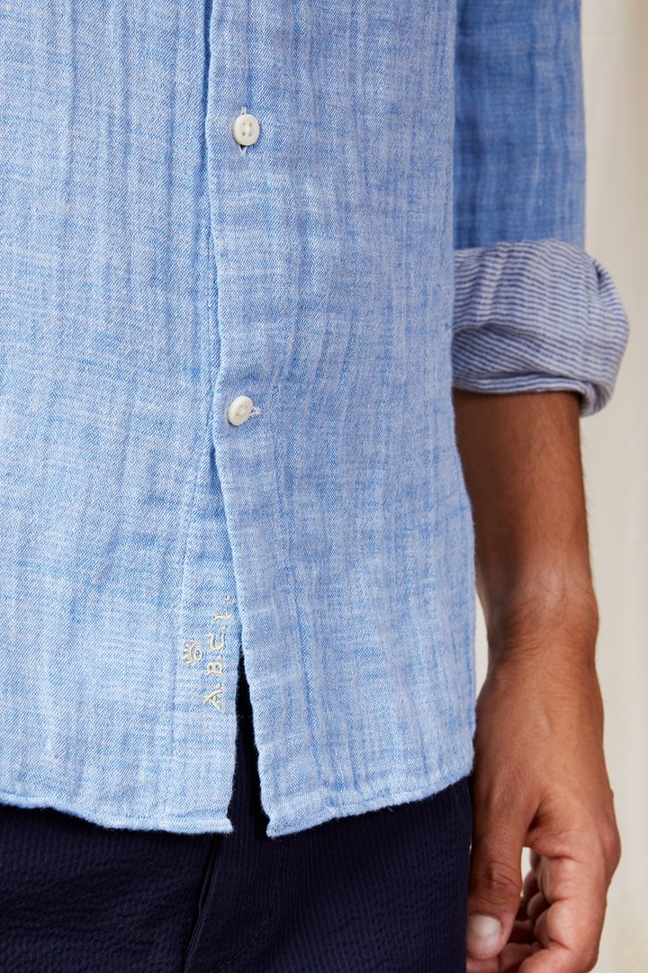 A.B.C.L. GARMENTS - Liberty linen cotton bonded stripe 0127/ Blue