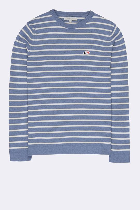 The Good People -  STRIPED KNITWEAR - White Light Blue