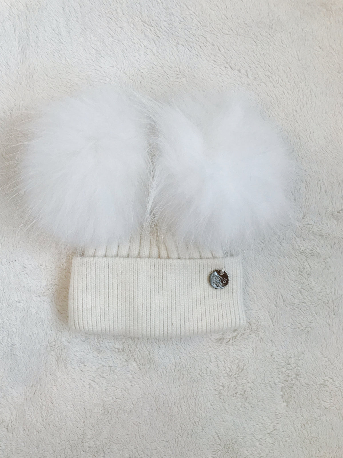 Toddler Cashmere double -  Cream with matching pom